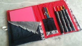 getlinkyoutube.com-طريقة صنع حقيبة للاقلام والكراس من الجينز بدون خياطة
