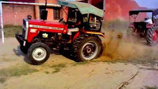 getlinkyoutube.com-mahindra 275 v/s massey 5245  kali-rAi jatt farm  tractor in vill.. khan-khana