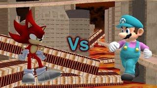 getlinkyoutube.com-SSBB Wii U Modded Battles: Fire Sonic Vs Ice Mario