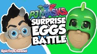 getlinkyoutube.com-SURPRISE EGGS PJ Masks Surprise Egg Battle Gekko VS Romeo Surprise Disney Car Toys & Paw Patrol