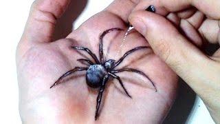getlinkyoutube.com-Hand Art 3D, Hideous Spider Drawing!