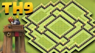 getlinkyoutube.com-Town Hall 9 Best Farming Base New Update *BOMB TOWER* (TH9  Anti Giant, Valkyries) + Replays Proof
