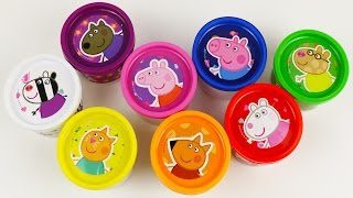 getlinkyoutube.com-Learn Colours With Peppa Pig Play Doh Cans Surprise! Fun Toys colors Lesson!