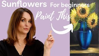 getlinkyoutube.com-Paint With Maz - Sunflowers In Blue Vase - Full step by step tutorial
