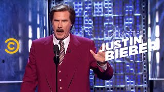 getlinkyoutube.com-Roast of Justin Bieber - Ron Burgundy - A Star-Studded Evening  - Uncensored
