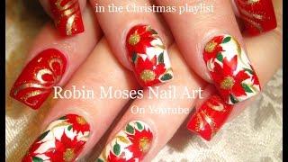 getlinkyoutube.com-Pretty Christmas Flower Nails | DIY Red Poinsettia Nail Art Design