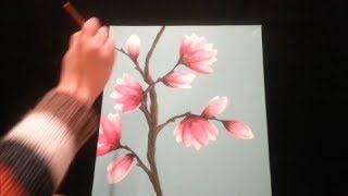 getlinkyoutube.com-How to paint magnolia blossoms - STEP by STEP