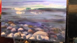 getlinkyoutube.com-Научиться рисовать море, воду, камни, курсы живописи для начинающих, Сахаров Игорь