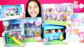 getlinkyoutube.com-Peppa Pig Toys! School Playground School Bus Enchanted Tower Tea party playset|B2cutecupcakes