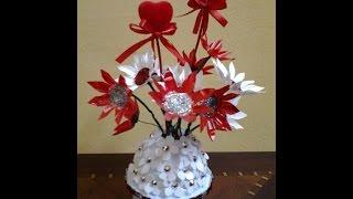 getlinkyoutube.com-Best Out Of Waste Plaste White & Red Flowers Showpiece