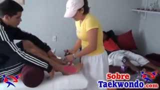 Tratamiento de lesiones en Taekwondo. Electro estimulación, Kinesiotaping