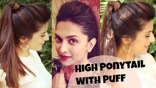 getlinkyoutube.com-3 EASY Everyday High Ponytail Hairstyles With Puff For School, College, Work | Deepika Padukone