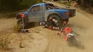 getlinkyoutube.com-BAJA 500 2013 BIKE CRASH INTO TROPHY TRUCK  RED BULL