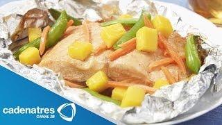 getlinkyoutube.com-Receta de Pescado al Vapor con Verduras / Comida para bajar de peso