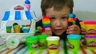 getlinkyoutube.com-Делаем мороженное на палочке рожок из пластилина распаковка unboxing set Ice Cream Play-Doh Husbro