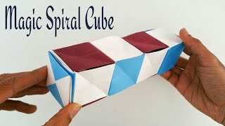 "getlinkyoutube.com-How to make a paper ""Magic spiral cube "" - Modular Origami / Craft Tutorial"