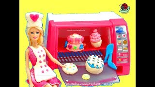 getlinkyoutube.com-BARBIE Doll'icious PASTRY CHEF Make Bake & Decorate Toys Review | itsplaytime612