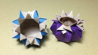 getlinkyoutube.com-【折り紙(おりがみ)】 花瓶(箱、つぼ)の折り方 作り方 実用 入れ物