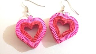 getlinkyoutube.com-6. How to make Paper Weaving Heart Shape Earrings