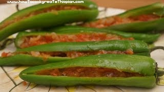 getlinkyoutube.com-Ethiopian Food - Sinig recipe vegan long Peppers with Onion & Tomato Amharic English