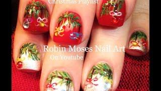 getlinkyoutube.com-Easy Christmas Nails   Xmas Ornaments on Wreaths Nail Art Design