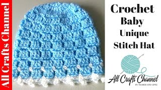 getlinkyoutube.com-Crochet Easy and unique stitch hat tutorial