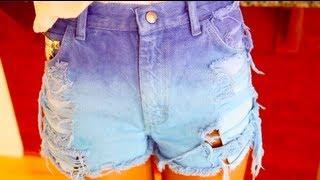 getlinkyoutube.com-как сделать рваные, шипованные, омбре джинсовые шорты
