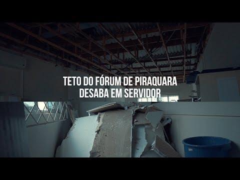 Teto do Fórum de Piraquara desaba em servidor