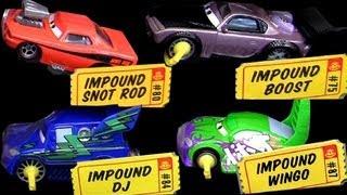 getlinkyoutube.com-5 Impound Cars Boost, Wingo, DJ, Snot Rod, Lightning Mcqueen Disney Pixar Toys Review Blucollection