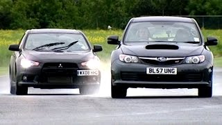 getlinkyoutube.com-Mitsubishi Evo X FQ360 vs Subaru Impreza WRX STi  #TBT - Fifth Gear