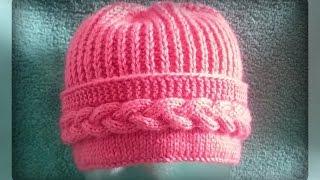 getlinkyoutube.com-женская шапка с поперечной косой спицами