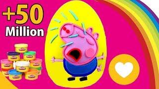getlinkyoutube.com-Massinha de Peppa Pig em Português Brasil Ovo Surpresa Gigante George Pig Chorando