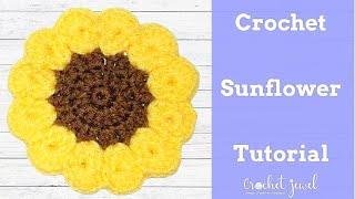 getlinkyoutube.com-How to Crochet a Sunflower Coaster