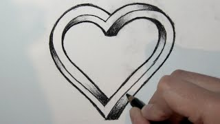 getlinkyoutube.com-Cómo dibujar un corazón imposible en 3D - Dibujos para Pintar