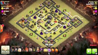 getlinkyoutube.com-Clash of Clans | Mass Valkyrie TH9 | Clan Wars - Anti 2 or 4 Corner Base