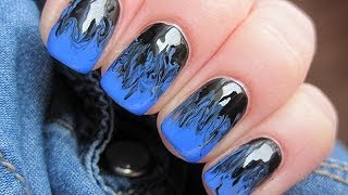 getlinkyoutube.com-Blue and black needle nails - Niebiesko czarne mani z użyciem igły - Basevehei