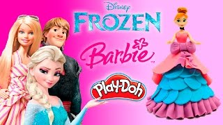 getlinkyoutube.com-Мультики для девочек Куклы Барби Анна Эльза Лепим из пластилина Плей До платья для кукoл