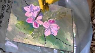 getlinkyoutube.com-Acrylmalerei für Anfänger Apfelblüten acrylic painting for beginners apple blossoms