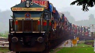 getlinkyoutube.com-Indian Railways : Trucks on Train...