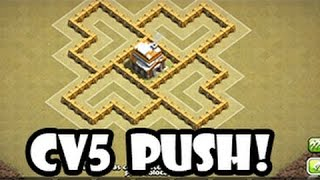 getlinkyoutube.com-Melhor layout de Push, Híbrido para Cv5/ Best Defense layout for TH5 - Clash of clans