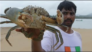 getlinkyoutube.com-BIG CRAB CAUGHT AND COOKING IN GOA BACKWATER | CRAB CURRY  MAKING | SEAFOOD RECIPES