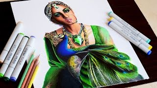 getlinkyoutube.com-Queen emerald -- Timelapse drawing -- copic markers and prismacolor pencils.