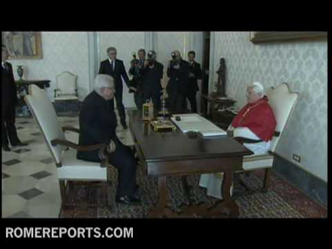 El presidente de Palestina  Mahmoud Abbas  visita al Papa Benedicto XVI