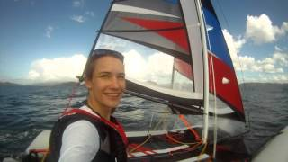 getlinkyoutube.com-unedited - Laura Dekker sailing MiniCat 420 in The Bay of Islands, New Zealand 060416