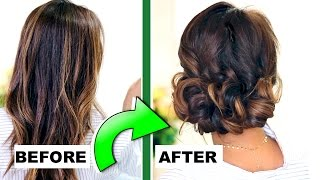 ★ 3-MINUTE ELEGANT CURLY BUN 👍🏽 | EASY UPDO HAIRSTYLES for Everyday & Prom | Peinados