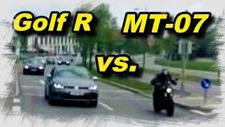 getlinkyoutube.com-Yamaha MT-07 (FZ-07) vs Golf R | Streetrace / Dragrace, Onboard and filmed from outside