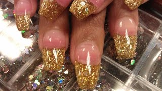 getlinkyoutube.com-HOW TO COFFIN GOLD GLITTER NAILS PART 1 pink acrylic