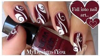 getlinkyoutube.com-Abstract Nail Art   Burgundy Madam Glam Nails ♥ Diseño de Uñas Castaño