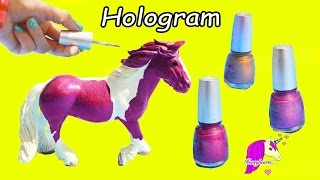 getlinkyoutube.com-Pink Rainbow Hologram Nail Polish Custom Schleich Mare Horse Painting Craft Video