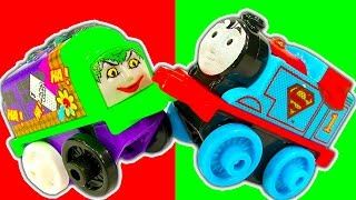 getlinkyoutube.com-Thomas DC Comic MINIS Wave 3 Power Trains High Speed Accidents Crashes & Fun